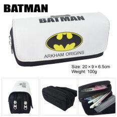 ส่วนลด Kisnow Anime Multifunctional Double Zipper Canvas Pencil Bag Handbag Purses Pencil Boxes Color Batman Batman ใน จีน