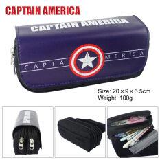 ซื้อ Kisnow Anime Multifunctional Double Zipper Canvas Pencil Bag Handbag Purses Pencil Boxes Color Captain America Kisnow ออนไลน์