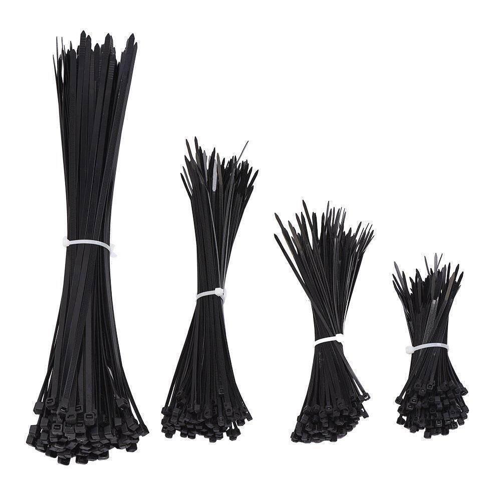 ขาย ซื้อ ออนไลน์ Kobwa 400Pcs Nylon Cable Zip Ties 4 6 8 12 Inches Black Intl