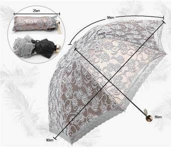 ... kobwa Compact Lace Wedding Parasol Folding Travel Sun Umbrella UV Block (Gray) Malaysia ...