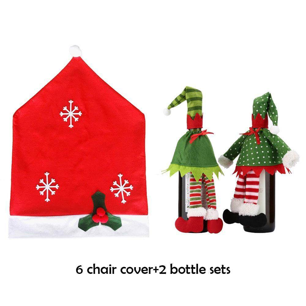 koklopo 6 Christmas Chair Covers And 2 Packs Wine Bottle Covers For Holiday Party Festival Christmas Kitchen Dining Room Chairs And Wine Bottles, Red - intl