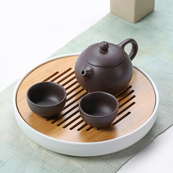 Kung Fu tea set a pot two cup bamboo dry tea tray suitJapanese-style whole sets travel office ceramic teapot cup