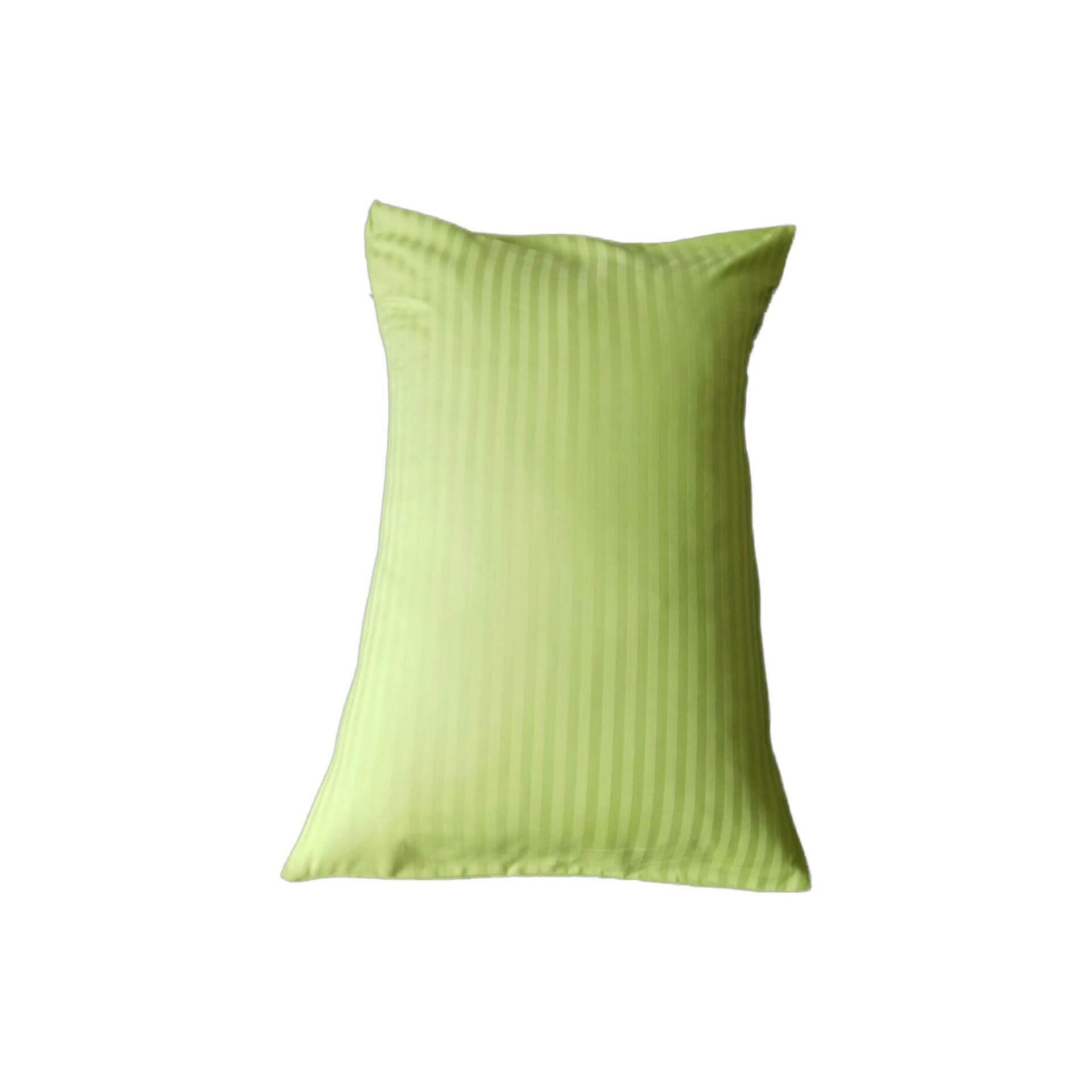 Ladubee Head Pillow Cover (Green Satin Stripes)