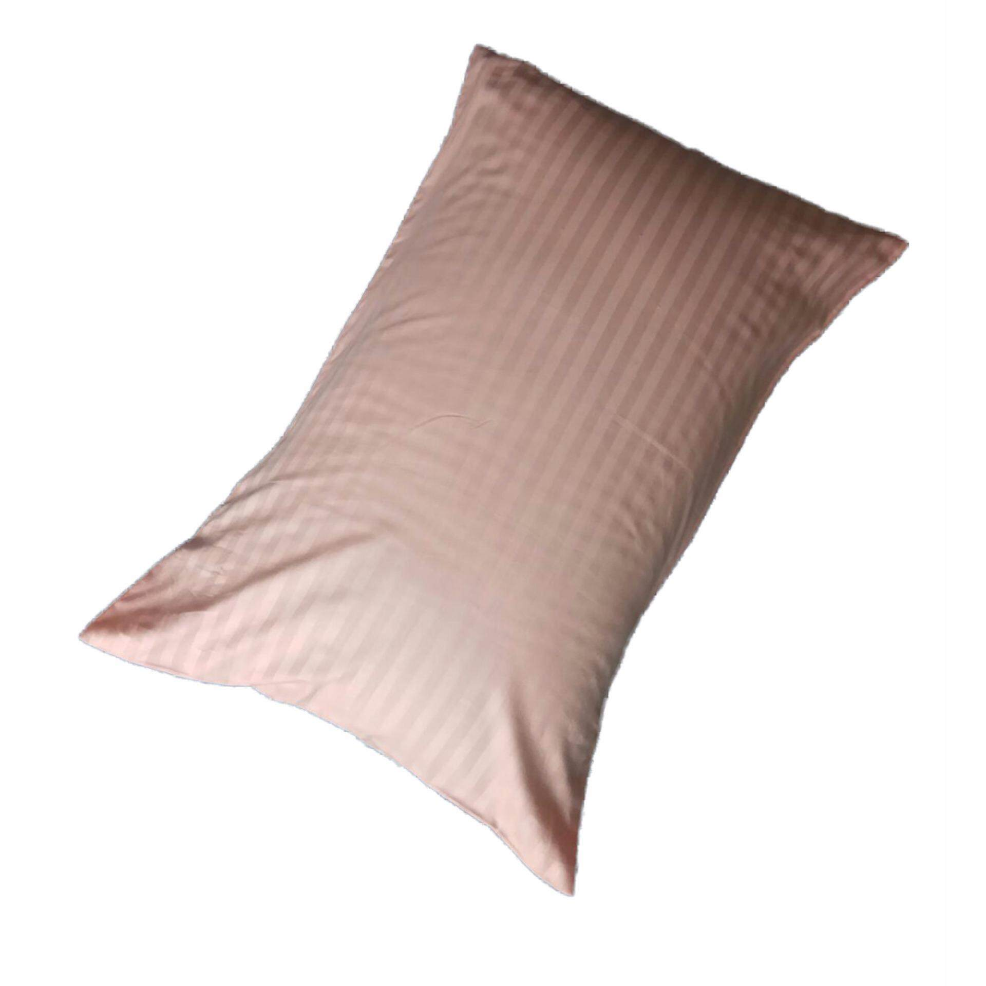 Ladubee Head Pillow Cover (Pink Satin Stripes)