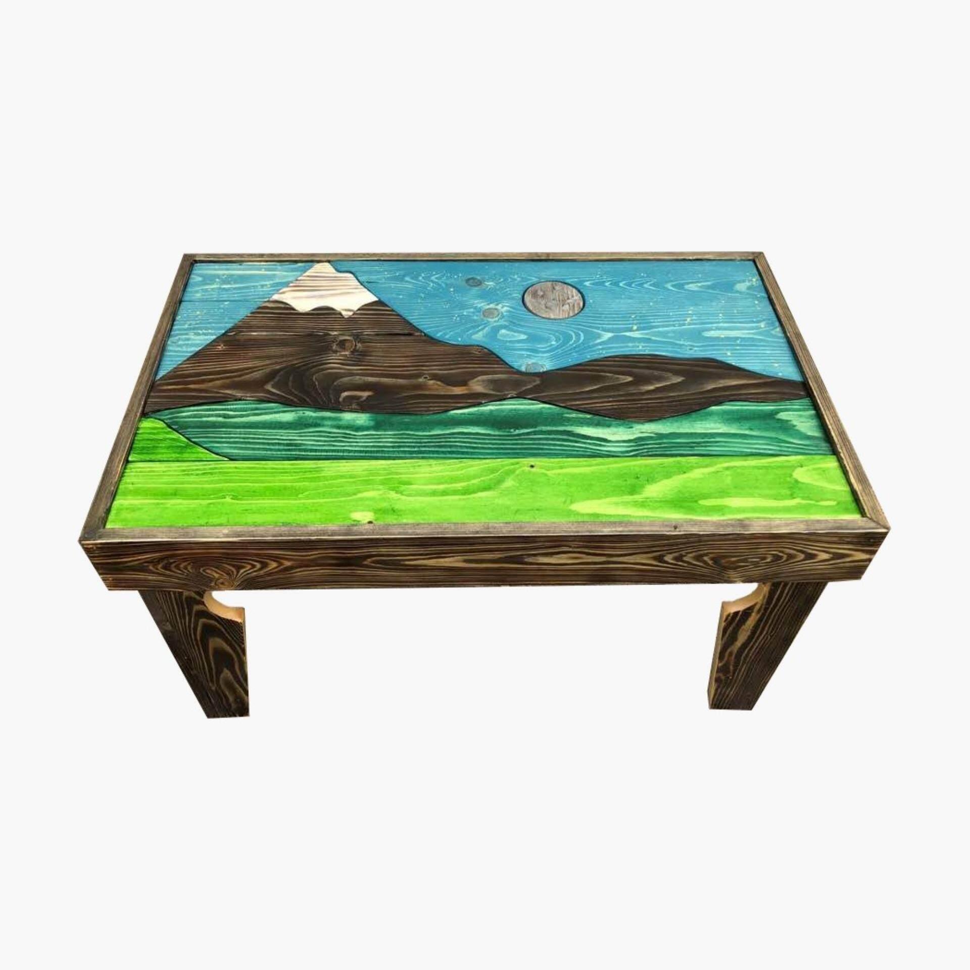 Ladubee Pine Wood Coffee Table (Mount fuji) (3ft x  2ft x 1.5ft)