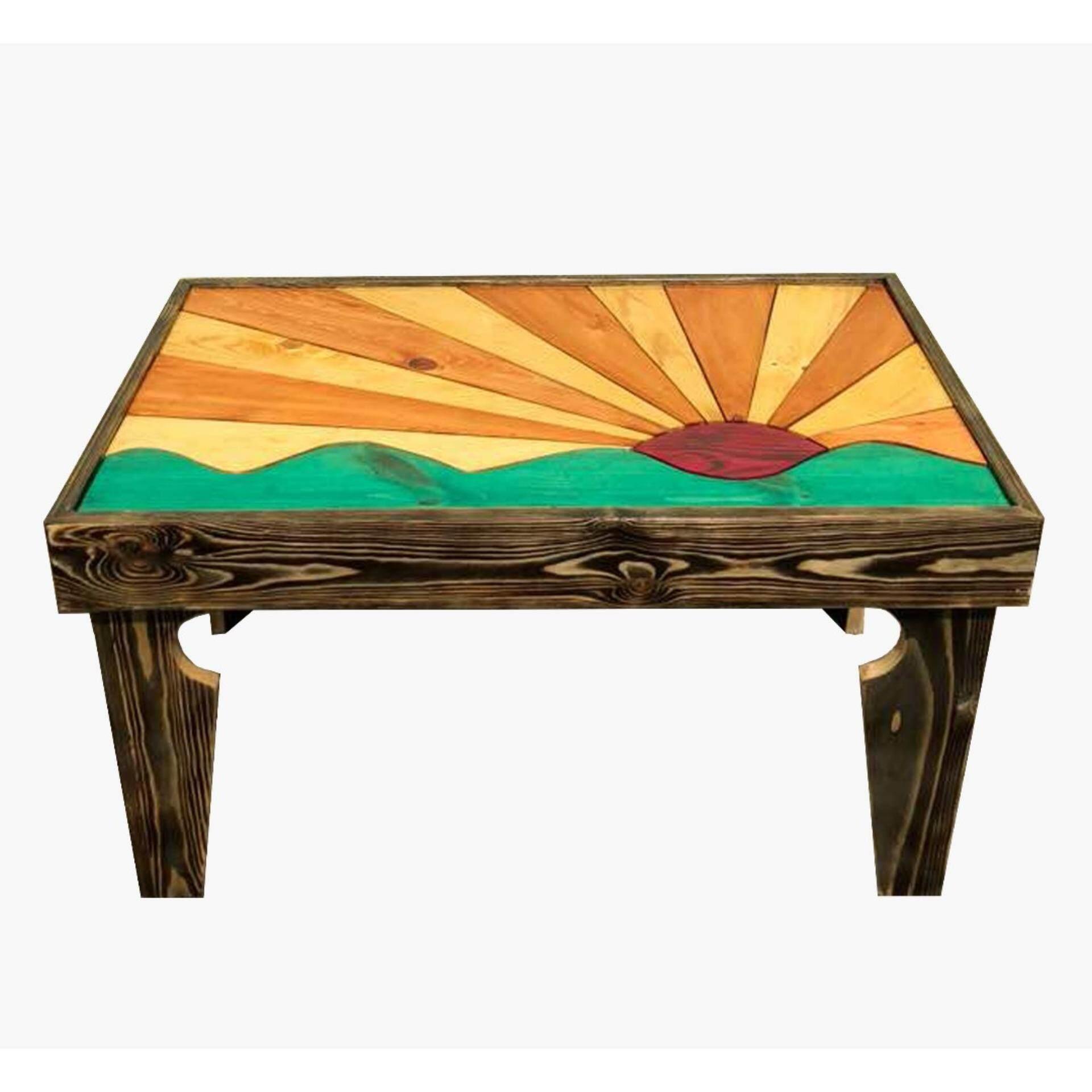 Ladubee Pine Wood Coffee Table (Rising Sun) (3ft x 2ft x 1.5ft)