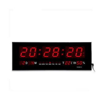 Large Digital LED WallDesk Time Calendar Alarm Clock Black