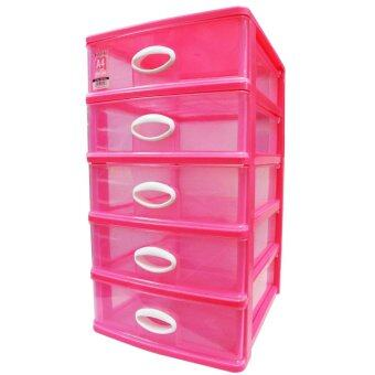 Harga Lava DW5925 Plastic Semi Transparent A4 Size 5 Tier Drawer(Pink)