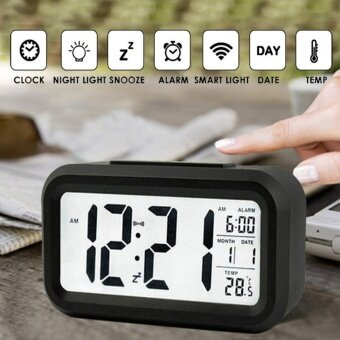 LED Digital Alarm Morning Clock Backlight Electric Alarm Clock with Dimmer Battery Operated Large LCD Display Temperature Display Nightlight and Snooze (Black)