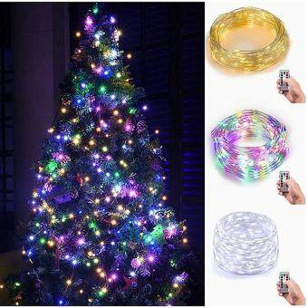 leegoal Indoor Fairy 5M Starry String Lights,34ft 100 LED 4AA Flexible Silver Battery Operated Multi-color Mini Christmas Decor Lights With Remote Timer For Thanksgiving, Bedroom,Christmas Tree (Cloorful Light)