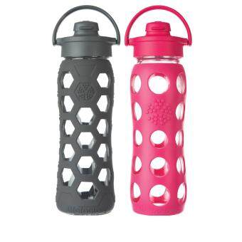 Harga Lifefactory Glass Bottle - Bundle - 22oz (650ml) - Flip Cap -(Carbon Hex) & (Raspberry)