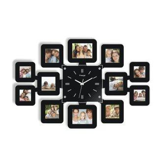 LivingCabinet Fashion Wall Clock with 12 Photo Frames (Black)