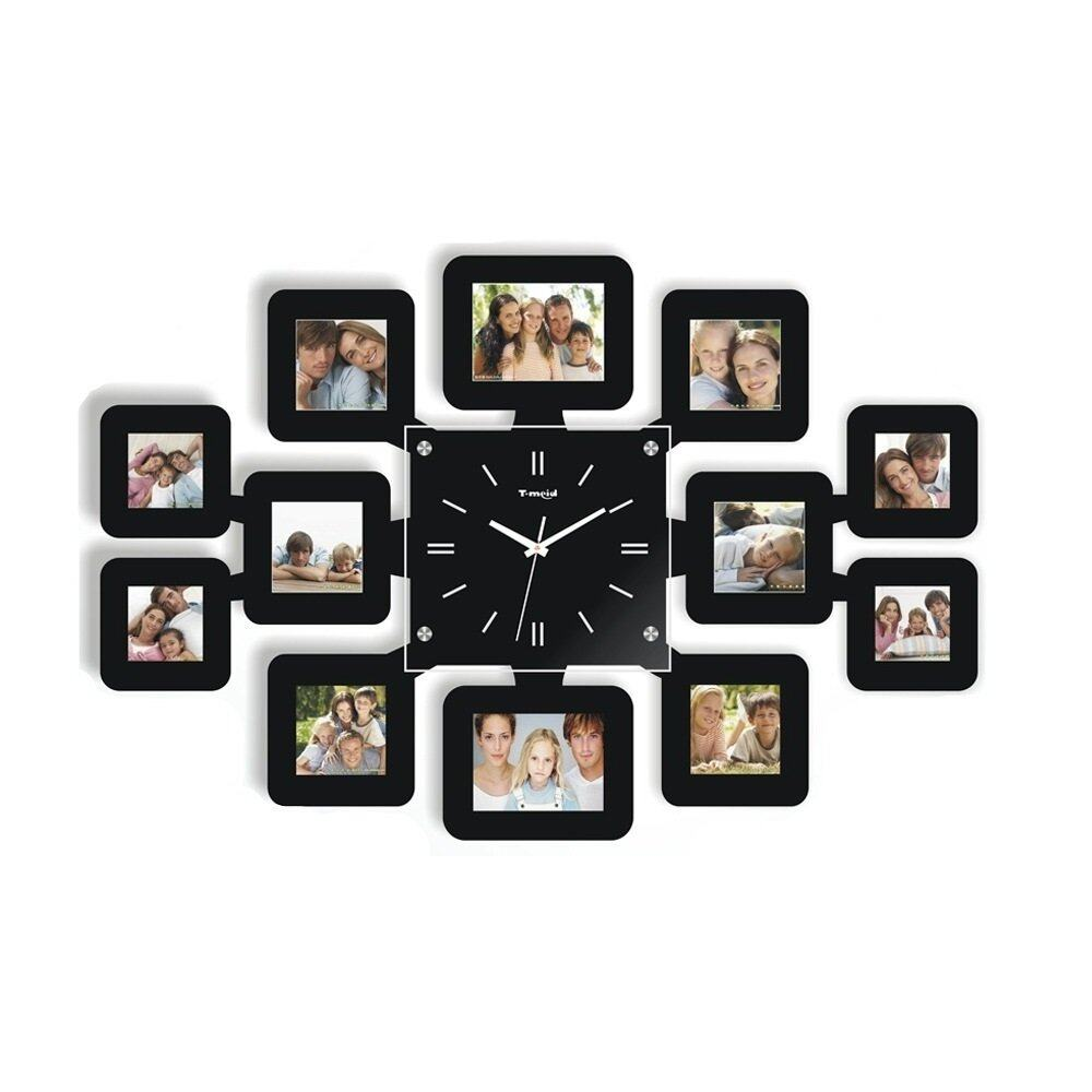 12 photo wall clock picture frame 12000 wall clocks livingcabi fashion wall clock with 12 photo frames black lazada malaysia amipublicfo Gallery