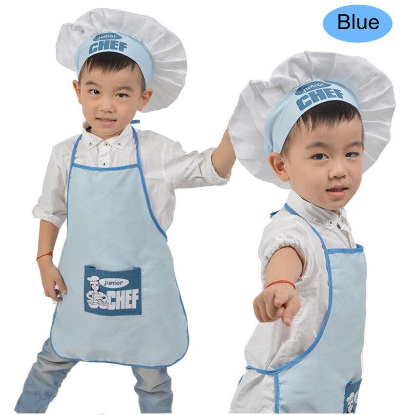 LZ Lucu Anak-anak Topi Koki dan Celemek Lucu Dapur/Memasak Celemek Setfor Bayi Perempuan Anak Laki-laki Anak-anak TK (biru) -Internasional