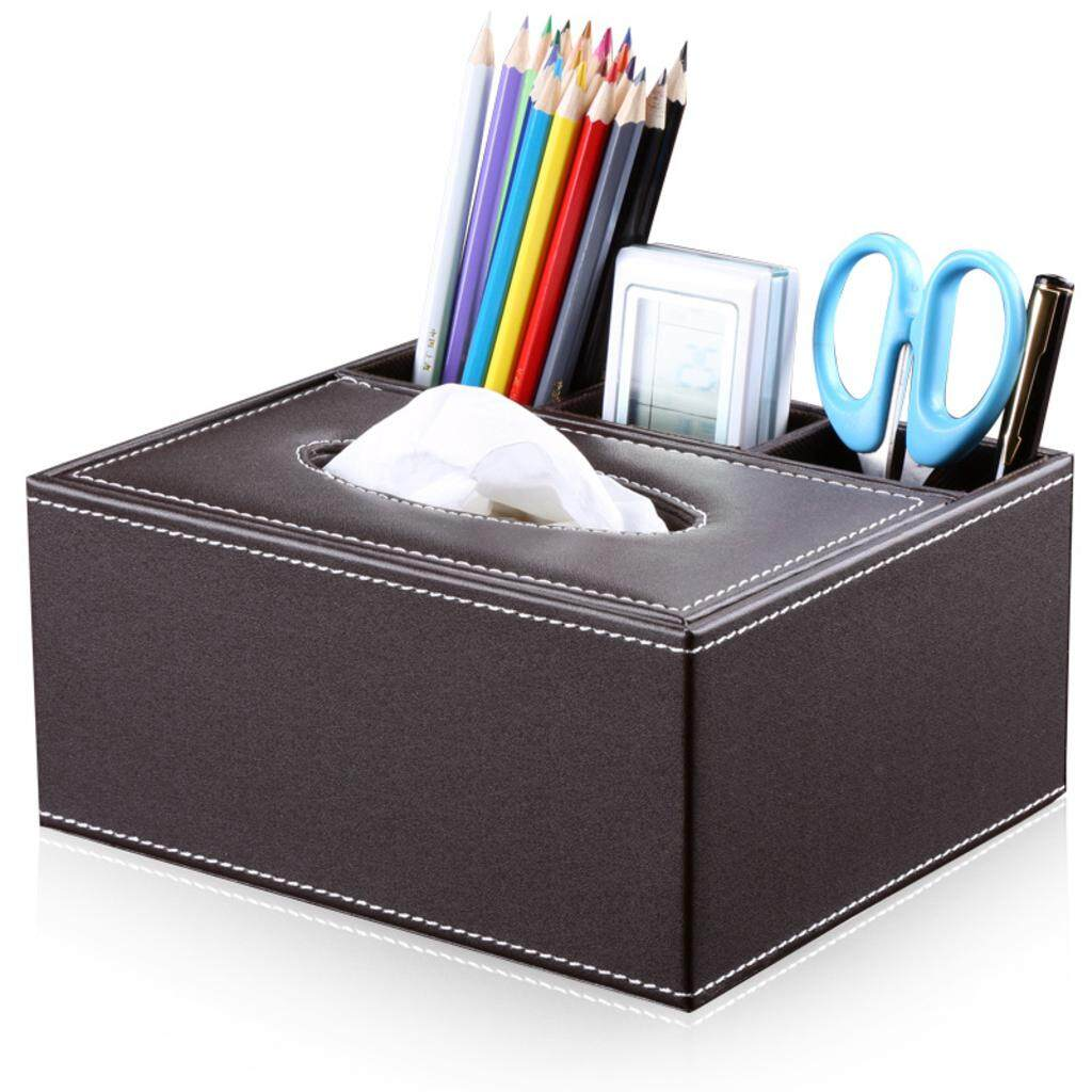 MagiDeal PU Leather Home Hotel Car Tissue Box Napkin Cover Brown - intl