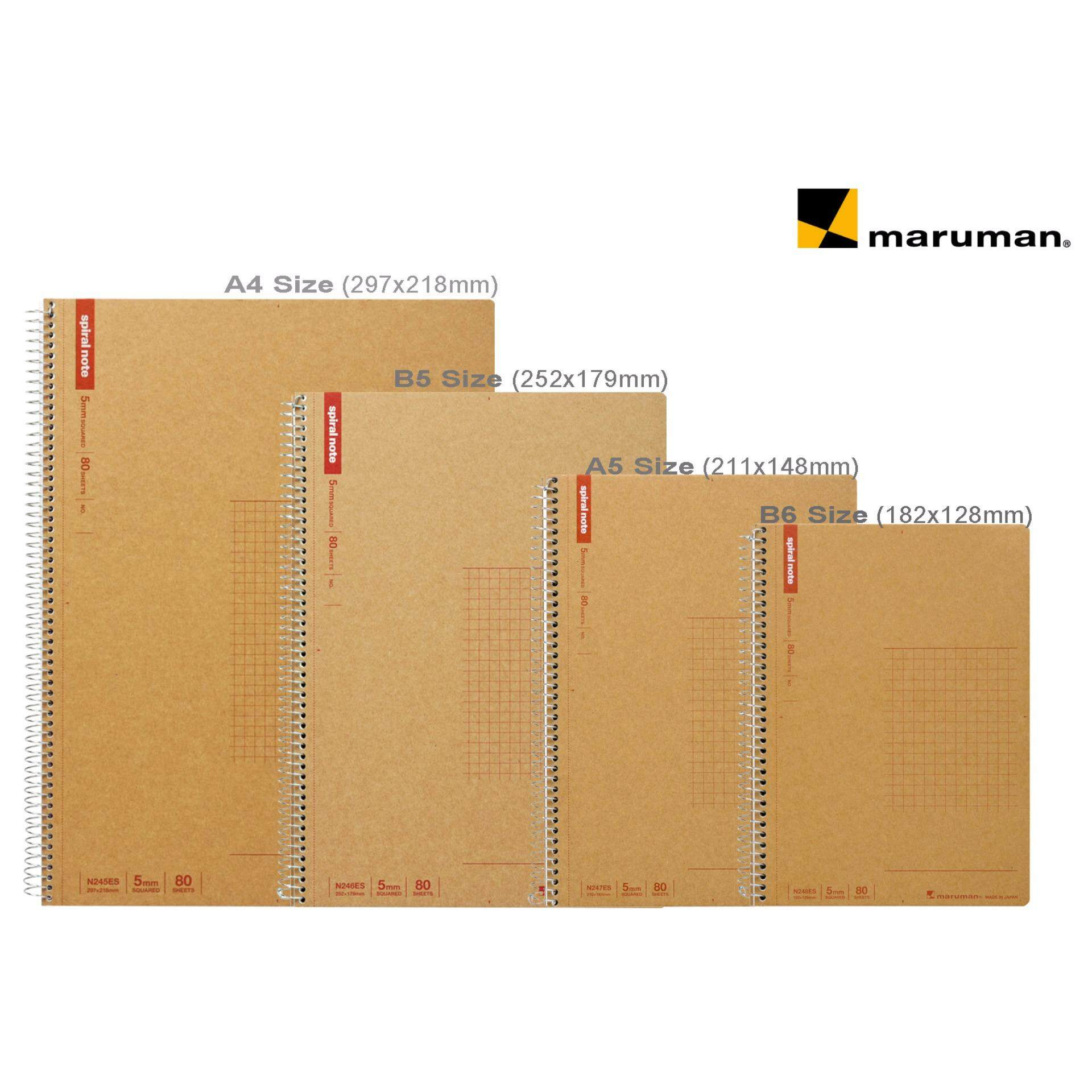 Maruman Spiral Notebook 4 in 1 Set (5mm Squared)