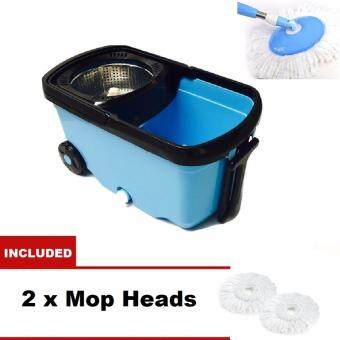 Harga MASIA Stainless Steel Wheel Easy Magic Spin Mop 2 Drive Rotary Rotation Dryer Cleaner Bucket Floor Cleaning Set (Blue)