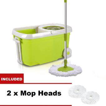Harga MASIA Stainless Steel Wheel Easy Magic Spin Mop 2 Drive Rotary Rotation Dryer Cleaner Bucket Floor Cleaning Set (Green)