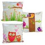 Maylee 3pcs Multicolour Lovely Owl Pillow Cases Set