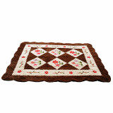 Maylee Brown Flower Hand Made High Quality Patchwork Velvet Carpet (Ct V Flower B)