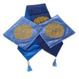 Maylee Classic Pillow Cases 6pcs With a Table Runner Gold Flake Flower- Blue