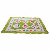 Maylee Green Flower Hand Made High Quality Patchwork Velvet Carpet (Ct V Flower G)