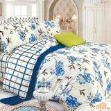 Maylee High Quality Cotton 3pcs Queen Fitted Bedding Set 450TC (Blue Flower)