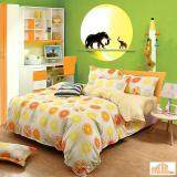 Maylee High Quality Fashion 4pcs Orange and Lime Single Bedding Set With Bolster(FM-S-ORA)