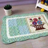 Maylee Patchwork Cotton Floor Mat Small Flower Bucket Green 40*60