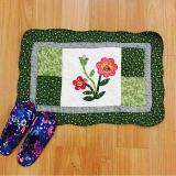 Maylee Patchwork Cotton Floor Mat Small Flower Green 40*60