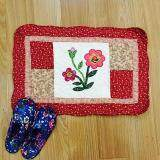 Maylee Patchwork Cotton Floor Mat Small Flower Red 40*60