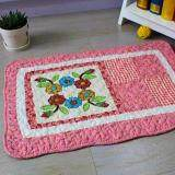 Maylee Patchwork Cotton Floor Mat Small Round Flower Pink 40*60