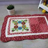 Maylee Patchwork Cotton Floor Mat Small Round Flower Red 40*60
