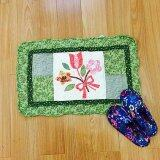 Maylee Patchwork Cotton Floor Mat Small Sweet Flower Green 40*60