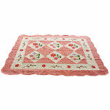 Maylee Pink Flower Hand Made High Quality Patchwork Velvet Carpet (Ct V Flower P)