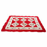 Maylee Red Flower Hand Made High Quality Patchwork Velvet Carpet (Ct V Flower R)