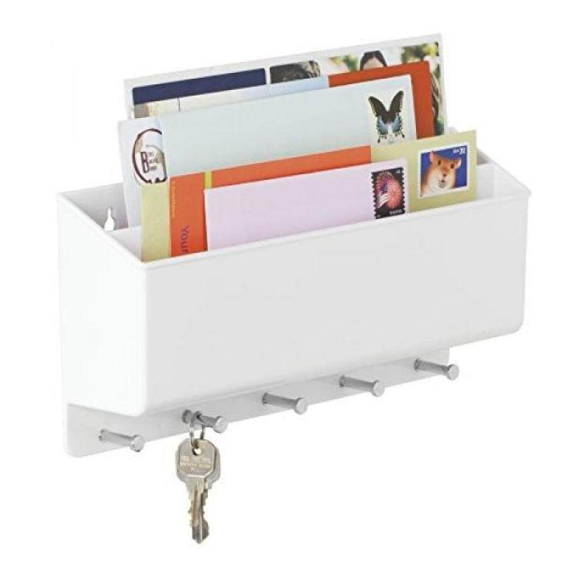 mDesign Mail, Letter Holder, Key Rack Organizer for Entryway, Kitchen - Wall Mount, Divided, White