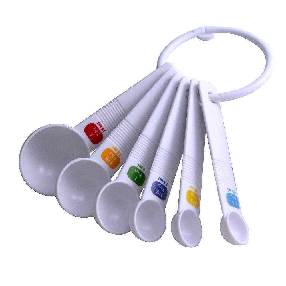 Measuring Spoon Plastic 6 PCS Set with Colored Label