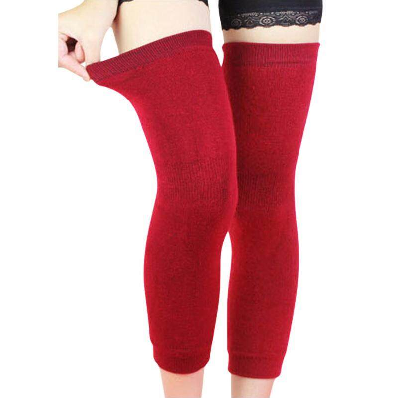 Buy Medical Grade Thermal Over Knee Sleeve 1 Pair Unisex Elastic Lengthen Cashmere Knit Knee Brace Support Protector Knee Warmer Pads Legging Stockings - Pain Relief, Warming Knee, Non-slip Comfort  Wine  Malaysia
