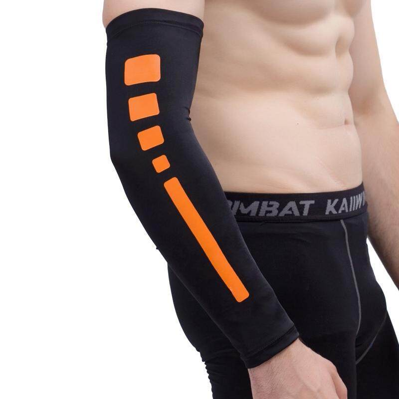 Men Outdoor Sports Elastic Breathable Anti-skid Elbow Arm Sleeve UV Protective Gear, Size: M (Black)