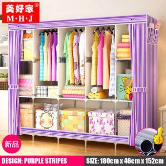 MHJ 218-S [NP70] High Quality Steel Frame Wardrobe Side Open DIYModern Multifunctional Cloth Wardrobe (King Size)