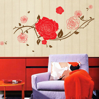 Mimosifolia 3D Flowers Bloom Wall Sticker Decal Wallpaper PVC MuralArt House Decoration Home Picture Wall Paper for Adult Kids 60X90
