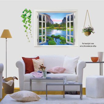 Mimosifolia 3D Window Greenery Wall Sticker Decal Wallpaper PVC Mural Art House Decoration Home Picture Wall Paper for Adult Kids 60X90