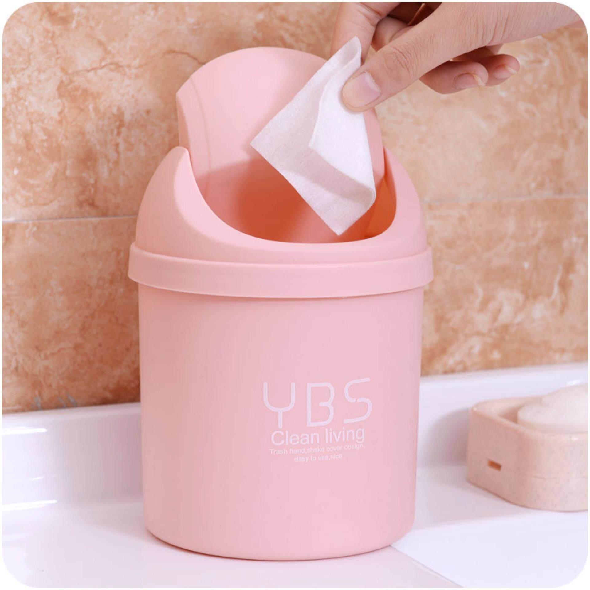 Mini Desktop Trash Can With Lid Desk Small Household Trash Clean Debris Storage (Pink)