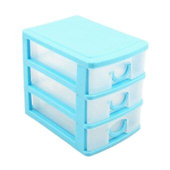 Harga Mini Drawer Storage Box Cosmetics Box (Blue+3 layers)
