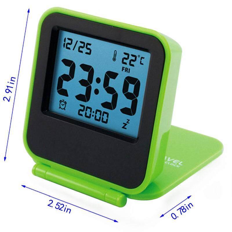 Mini Portabel Perjalanan Kulit Kerang Elektronik Malam Lampu LED Digital Meja Jam Alarm-Internasional