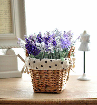 Model potted essential clothing grass wicker basket silk flower artificial flowers