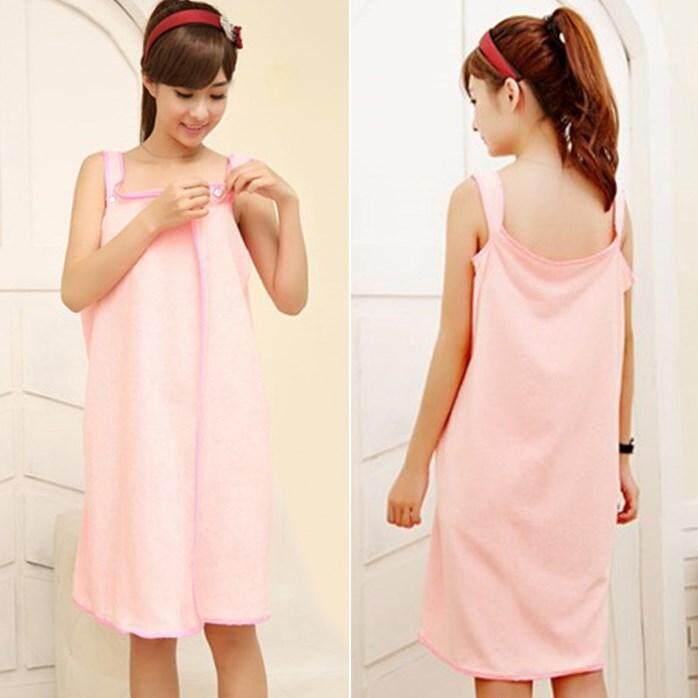 Modern Button Korean Bathrobe Light Pink