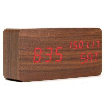 Harga Modern Cube Wooden Wood Digital LED Desk Voice Control Alarm Clock Thermometer LED Color Red