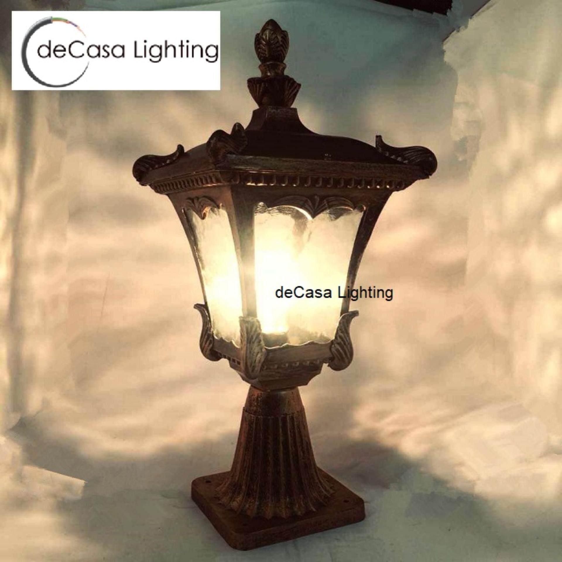 Classic Gate Light Outdoor Pillar Light Glass E27 Weather Proof Stand Light  (DJ005-M-S)